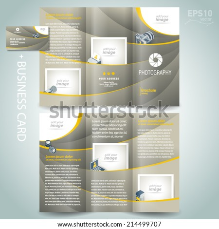 photography brochure design template diaphragm photo camera professional element icons and business card - stock vector