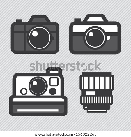 Photography camera and lens toy set vector icons - stock vector