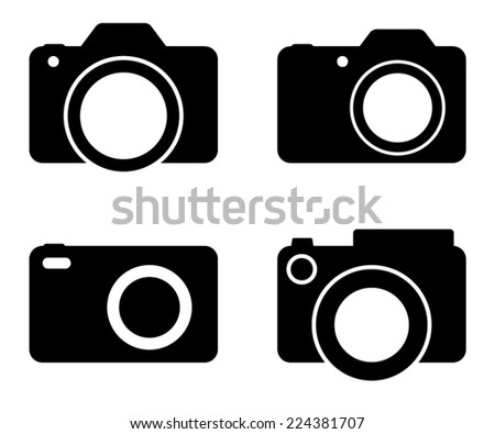 Photography Camera Black Vector Silhouettes Illustration - stock vector