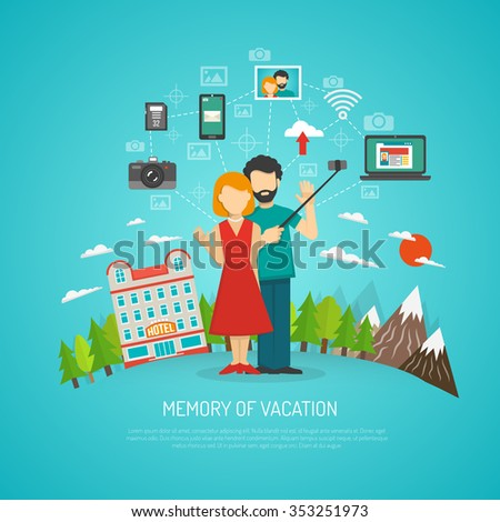 Photography concept with people on vacation making selfie flat vector illustration - stock vector