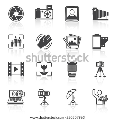 Photography equipment camera photo icons black isolated vector illustration - stock vector