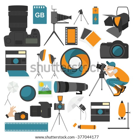 Photography icon set with photo, camera equipment. Colour flat version. Vector illustration - stock vector