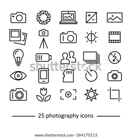 photography icons collection - stock vector