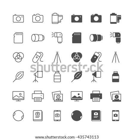 Photography icons, included normal and enable state. - stock vector