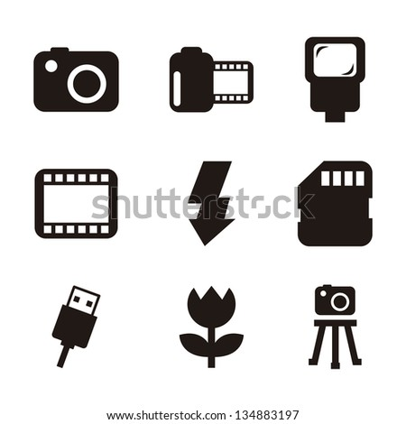 photography icons over white background. vector illustration - stock vector
