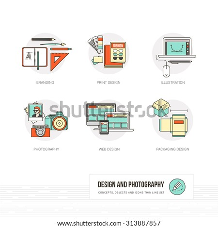 Photography, illustration, graphic and web design concepts, thin line icons and objects set - stock vector
