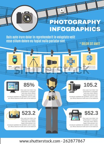 Photography infographics set with photo camera and equipment information symbols vector illustration - stock vector