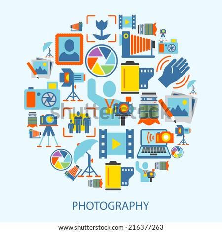Photography photo equipment mode studio editing decorative icons flat vector illustration - stock vector