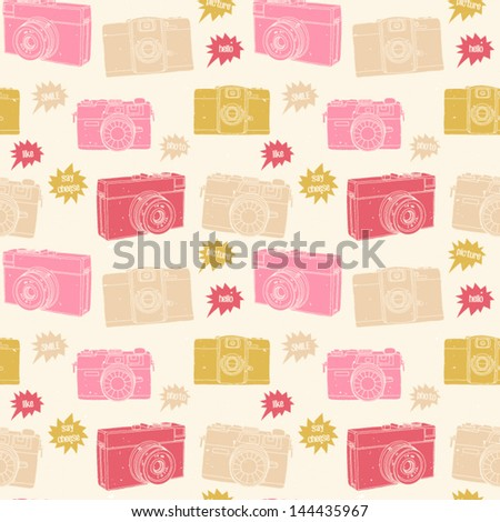 Photography seamless pattern. Hand drawn photo cameras background in pastel pink color. Vector illustration - stock vector