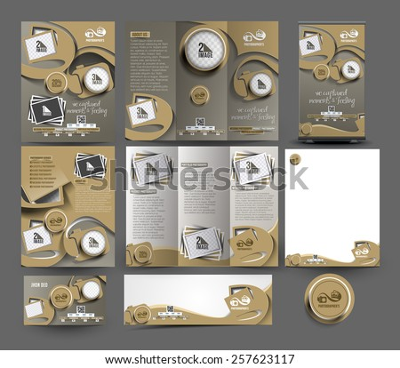 Photography Studio Stationery Set Template - stock vector