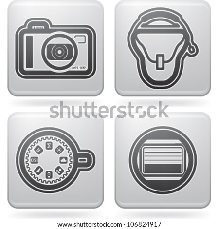 Photography tools & equipment icons set, pictured here from left to right:  Compact camera, Camera bag, Dial button, Camera shutter. - stock vector