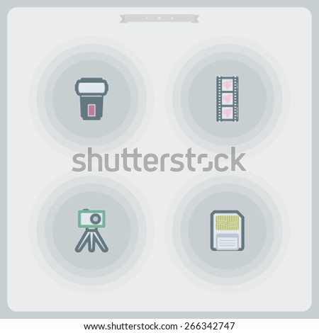 Photography tools & equipment icons set, pictured here from left to right - Flash gun, Film strip, Compact camera & tripod, Memory card. - stock vector