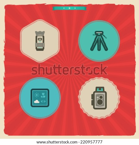 Photography tools & equipment icons set, pictured here from left to right, top to bottom -  Camera lens, Tripod, Camera predefined program icons, Old fashion camera. - stock vector
