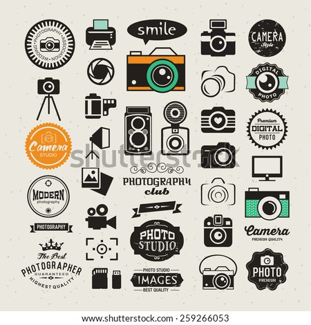 Photography vintage retro icons, badges and labels set. Vector photography logo templates - stock vector