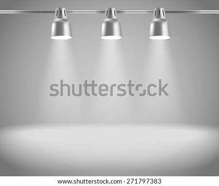 Photorealistic bright stage with projectors. Presentation vector template - stock vector