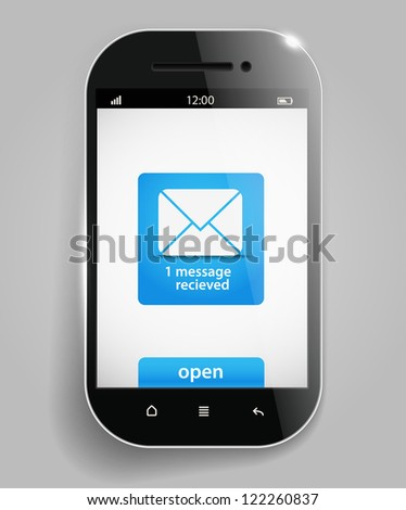 Photorealistic modern mobile phone template with message - stock vector