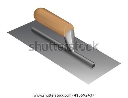 Photorealistic plastering trowel with wooden handle - stock vector