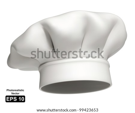Photorealistic vector illustration of a modern white chef hat - stock vector