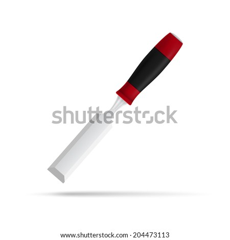 photorealistic vector picture of chisel isolated on white background - stock vector