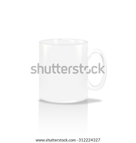 Photorealistic white cup. High detailed realistic vector illustration eps 10 of white coffee tea mug isolated on white background. - stock vector