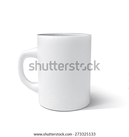 Photorealistic white cup. Vector illustration. - stock vector