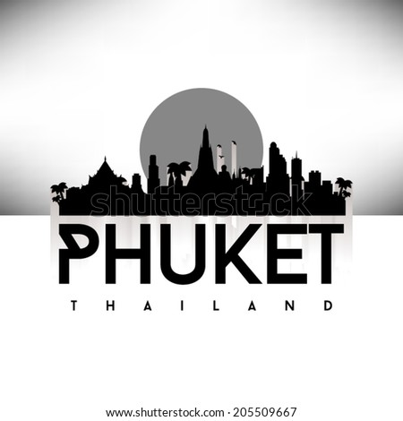 Phuket Thailand Black Skyline Silhouette vector illustration, Typographic design. - stock vector
