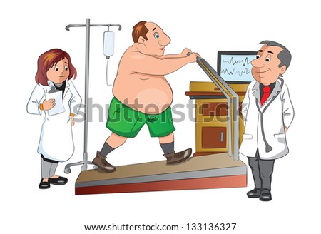Physical Checkup at the doctor office, walking on a treadmill, illustration - stock vector