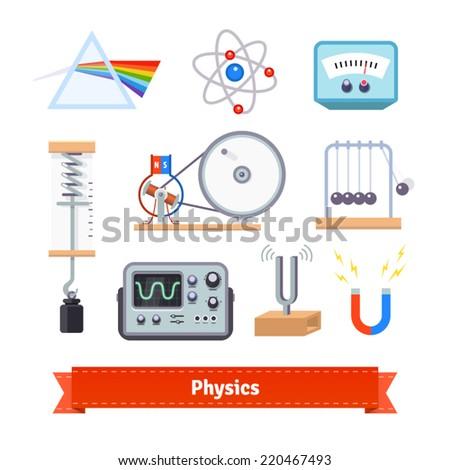 Physics classroom equipment colourful flat icon set. EPS 10 vector. - stock vector