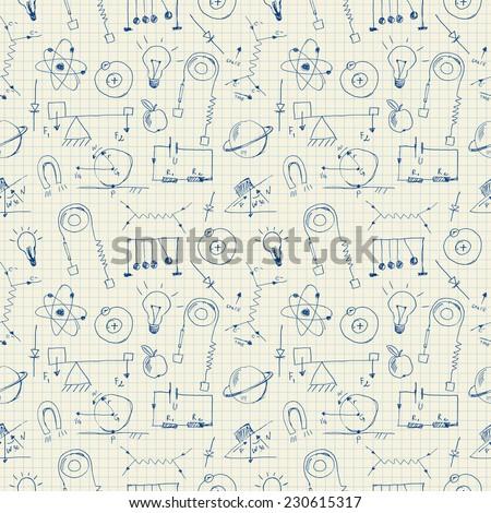 Physics doodles seamless pattern - stock vector