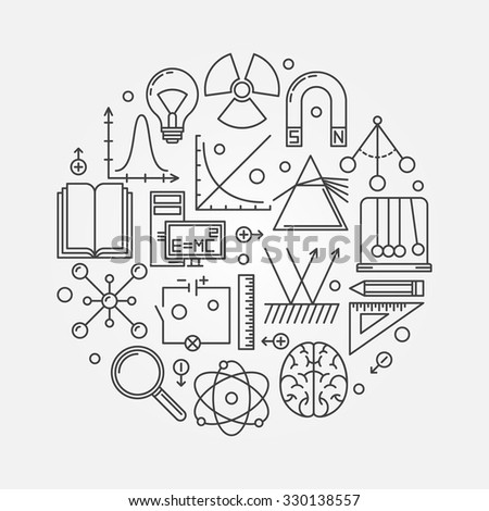 Physics round illustration - vector linear science symbol or logo - stock vector