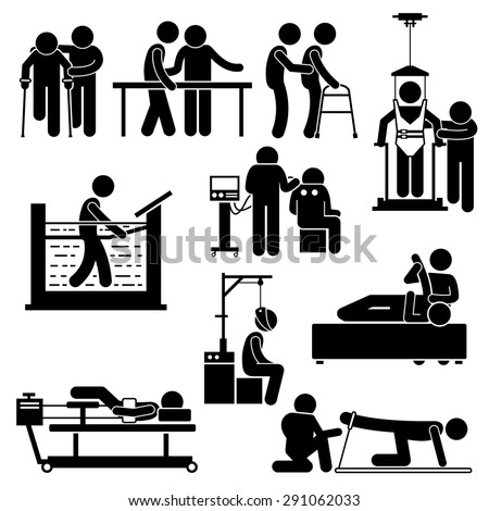 Physio Physiotherapy and Rehabilitation Treatment Stick Figure Pictogram Icons - stock vector