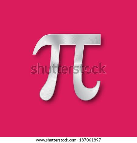 Pi mathematical metal symbol. Vector design. - stock vector