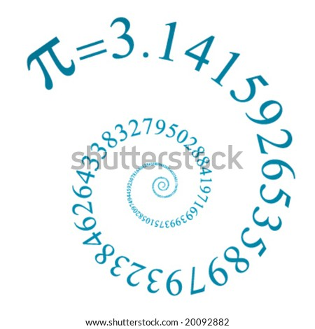 pi number on many digits in spiral - stock vector