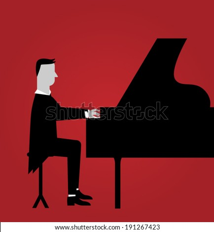 Pianist  - stock vector