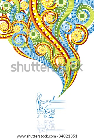 Pianist in abstract collage. Format A4. Vector illustration. Isolated groups and layers. Global colors. - stock vector