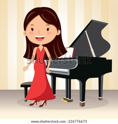 Piano concert. Composer. Pianist standing. - stock vector