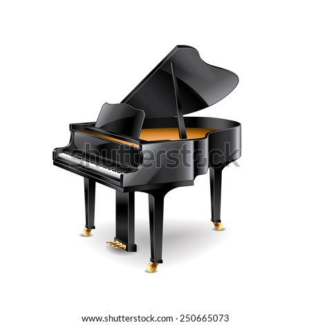 Piano isolated on white photo-realistic vector illustration - stock vector