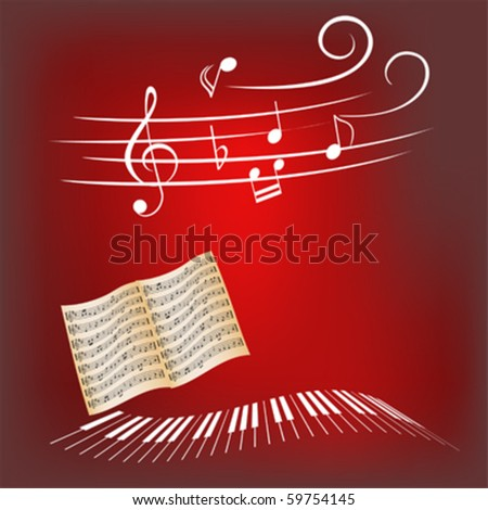 Piano keys, sheet music and music notes - stock vector