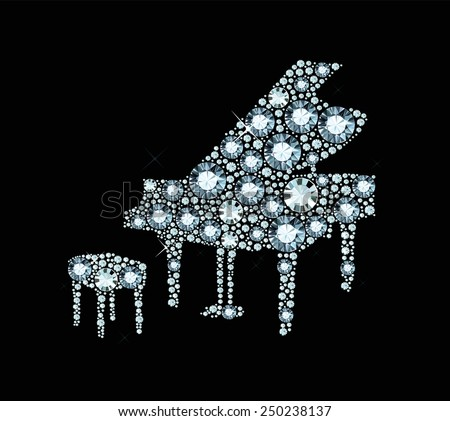 Piano made of shiny diamonds  - stock vector