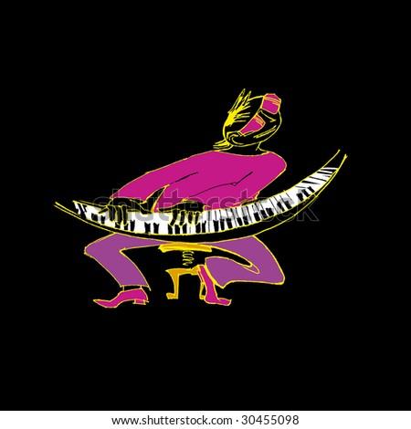 piano man - stock vector
