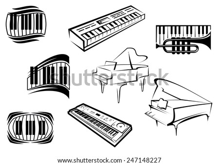 Piano musical outline icons and symbols with piano keyboards, grand pianos, synthesizers and trumpet suitable for classical and jazz music concept design - stock vector