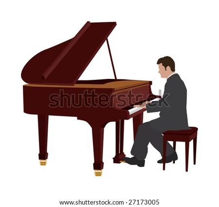 piano player - stock vector