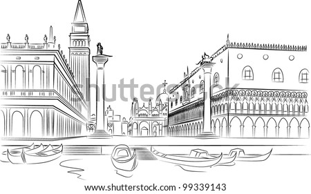 Piazza San Marco with Campanile and Doge Palace. Venice, Italy - stock vector