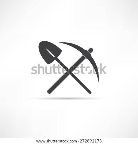 pick and shovel  symbol - stock vector