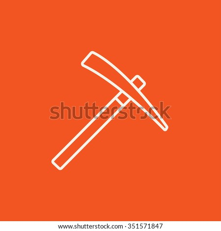 Pickax line icon for web, mobile and infographics. Vector white icon isolated on red background. - stock vector