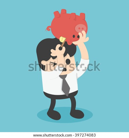 Picking Coin in Piggy bank illustration - stock vector