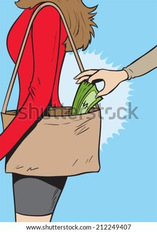 Pickpocket girl  - stock vector