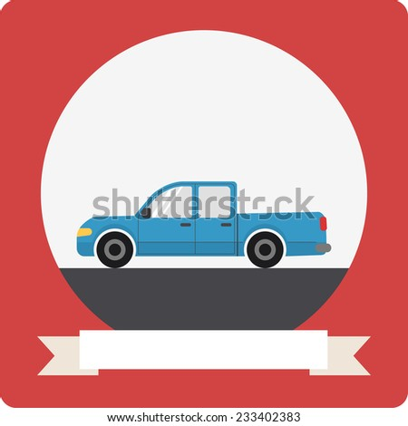 Pickup truck car icon with round frame and ribbon - stock vector