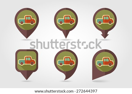 Pickup truck flat mapping pin icon with shadow - stock vector