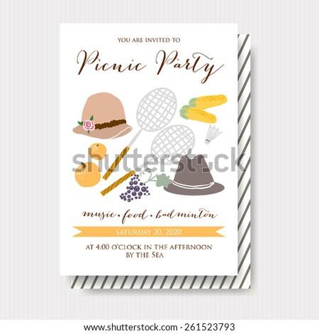 Picnic Party Invitation - stock vector